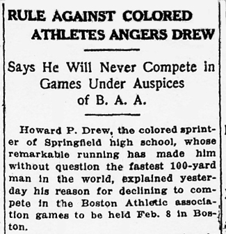 Newspaper Clipping: Rule Against Colored Athletes Angers Drew